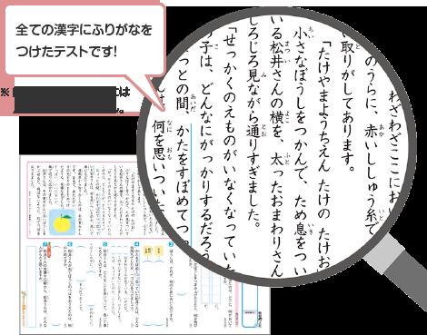 全ての漢字にふりがなをつけたテストです。